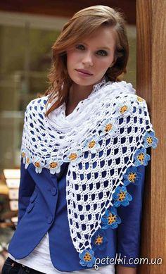 Delicate sjaal met een bloemenrand, gratis haakschema, #haken, omslagdoek, #crochet, free chart, wrap with flower border