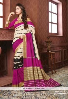 Paramount Pink And Beige Printed Party Wear Saree