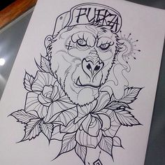 Neo Traditional Flower Tattoo Designs tattoo gorilla neo traditional ... Gorilla Tattoo, Traditional Tattoo Flowers, Neo Traditional Tattoo, Peonies Tattoo, Tattoo Outline, Flower Tattoo Designs, Ink, Image, Best Drawing