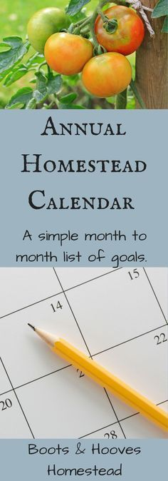 Annual Homestead Schedule - Boots & Hooves Homestead