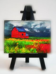 The red barn Easel and art set 2.50 x 3.50 by #Gina Signore art #dahliahousestudios #red barns #Barns #Barn photograph #Miniature art #Sunflower fields