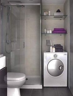 Tiny house bathroom - Looking for small bathroom ideas? Take a look at our pick of the best small bathroom design ideas to inspire you before you start redecorating. Laundry Room Bathroom, Tiny House Bathroom, Modern Bathroom Design, Small Bathrooms, Bathroom Designs, Bath Room, Bathroom Storage, Shower Bathroom, Basement Bathroom