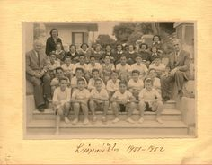 B/W photo of a school class. Signed: 'Ath. Tsolakis, A souvenir from 1957-58 school year'. Greece, 1957. Courtesy Peloponnesian Folklore Foundation, all rights reserved.