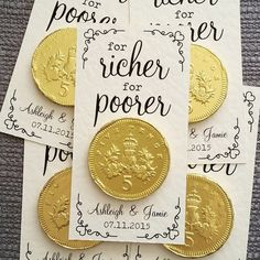 Personalised 'For Richer For Poorer' Coin Wedding Favour by LittleIndieStudio on Etsy https://www.etsy.com/uk/listing/224682113/personalised-for-richer-for-poorer-coin