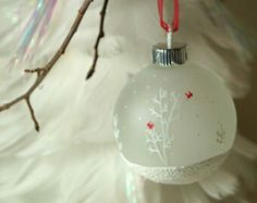 Hand-painted frosted glass globe ornaments - snowy trees with tiny cardinals