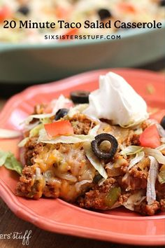 This quick and easy taco salad casserole is a great meal to throw together when you're in a pinch for time. Taco Salad Casserole Recipe, Casserole Recipes, Mexican Dishes, Mexican Food Recipes, Chicken Bacon Ranch Bake, Easy Dinner Recipes, Yummy Recipes, Yummy Food, Ground Beef Recipes Easy