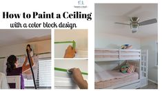 How to paint a ceiling with a color block design