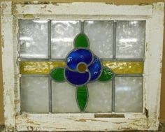 """OLD ENGLISH LEADED STAINED GLASS WINDOW Gorgeous Floral Band 20.5"""" x 16.5"""" in Antiques, Architectural & Garden, Stained Glass Windows 