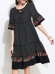 Stylewe Bell Sleeve Keyhole Black A-Line Daily Mini Dress Lace Summer Dresses, Lovely Dresses, Casual Dresses, Fashion Dresses, Short Sleeve Dresses, Polka Dot Mini Dresses, Frocks For Girls, Vestidos Vintage, Sweet Dress