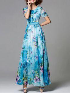 Crew Neck Floral-print A-line Casual Short Sleeve Maxi Dress