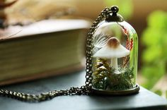 A little handsculpted mushroom (a fairy ring champignon perhaps!) is growing in a bed of green woodland moss and dandelion wishes in this magical miniature terrarium pendant. A perfect capsule garden for flower faeries and mushroom foragers alike!   This pendant is hung on a 26 inch long bronze rolo chain. All the findings are nickel-free bronze. The glass belljar measures about 30mm and is much sturdier than it looks, this piece was designed for regular wear. See more miniature terrarium…