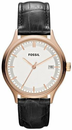 Fossil Archival Leather Watch - Black Fossil. $112.00. Archival Collection. Mineral Crystal. 36mm Case Diameter. Quartz Movement. 50 Meters / 165 Feet / 5 ATM Water Resistant. Save 10%!