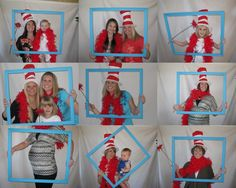 dr seuss photo booth, this would be sooooo fun to hang up in the hall:)