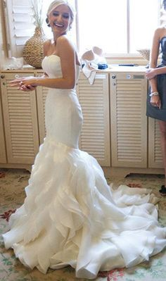 Organza Mermaid Wedding Dresses, 2017 Long Custom Wedding Gowns, Affordable Bridal Dresses, 17110 Or Long Gown For Wedding, Wedding Dress Organza, Open Back Wedding Dress, Before Wedding, Custom Wedding Dress, Lace Mermaid Wedding Dress, Perfect Wedding Dress, Mermaid Dresses, Ivory Wedding