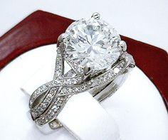 TACORI 3.70ct Near Flawless VVS1 F PLATINUM ENGAGEMENT RING & WEDDING BAND SET