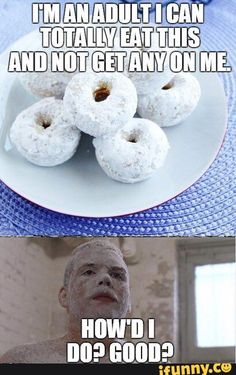 adult, eating, powdered, donuts
