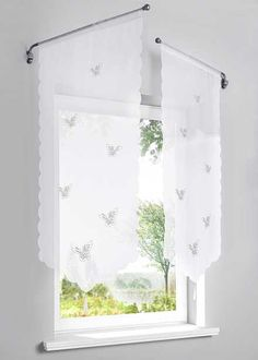 IBANO Roman Curtains Hollow Butterfly Tulle Curtains Cortinas Liftable For Kitchen Coffee Window Living Room Roman Curtains, Tulle Curtains, Swing Arm Curtain Rods, Granny Chic Decor, Space Saving Desk, Fachada Colonial, Beautiful Curtains, Curtain Patterns, Living Room Windows