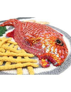 red mullet chips and peas - Kate Jenkins, wool crochet artwork