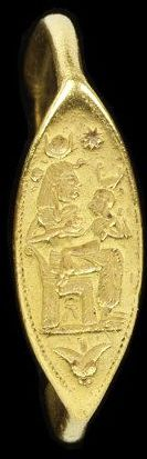 Gold ring with an oval bezel engraved with Isis nursing Horus, engraved gold, Phoenicia, about 400-300 BC.