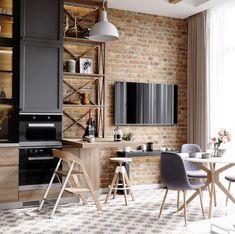 death star kitchen on Behance Kitchen Room Design, Modern Kitchen Design, Living Room Kitchen, Kitchen Interior, New Kitchen, Living Room Decor, Kitchen Decor, Loft Style, Kitchen Trends