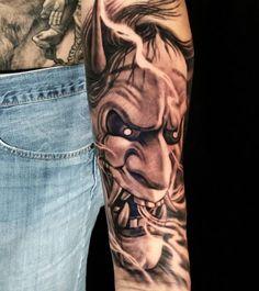 Skull Tattoos, Cute Tattoos, Body Art Tattoos, Hand Tattoos, Sleeve Tattoos, Japanese Demon Tattoo, Japanese Geisha Tattoo, Japanese Tattoo Designs, Hanya Mask Tattoo