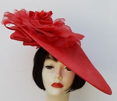 Red Profile Fascinator-Red Rose by HAT-A-TUDE.