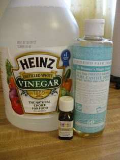 1/4 cup Vinegar, 1/2 tsp Dr Bronners Soap, 2 cups Warm Water, 1/4 tsp Lemon EO  - (This works as an antibacterial, anti fungal, and a antimicrobial)