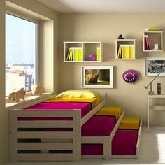 Loft Beds: Maximizing The Area Of Small Spaces – Bunk Beds for Kids Cama Murphy, Murphy Beds, Bunk Bed Designs, Kids Bunk Beds, Small Spaces, Beds For Small Rooms, Bedroom Decor, Bedroom Storage, Bedroom Kids