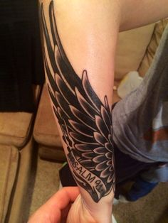 "Wing Tattoo ""He will cover you with His feathers, and under His wings you will find refuge."" psalm 91:4"