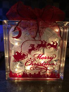 Lighted Christmas Glass Block Decoration by SCoopersCreations & Customized LIGHTED GLASS BLOCK with Initial Polka by PamsPolkaDots ...