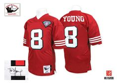 (Authentic Mitchell and Ness Men s Steve Young Red Patch Jersey) San  Francisco Home NFL Throwback Easy Returns. c2fed860e