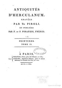 Antiquités d'Herculanum - Tommaso Piroli (engraver), Francesco Piranesi, Pietro Piranesi, S. Ph Chaudé - Google Libri