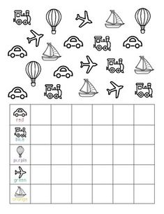 Color, count, and graph the different forms of transportation Kindergarten Circle Time, Kindergarten Math Worksheets, Preschool Learning Activities, Transportation Worksheet, Transportation Theme Preschool, French Teaching Resources, School Plan, Kids, English Activities For Kids