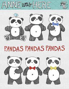 Pandas illustrés - clipart numérique