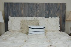 Hanger * Full Headboard - Classic Gray Oil Stain. Made with 3 Barn Walls blocks. Hang on the wall like picture frames. Easy Installation