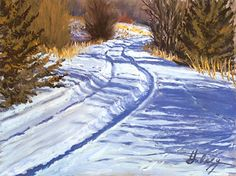 High contrast colors are what winter landscape painting is all about. Here's how to capture shadows in the light. Tracks II by John Hulsey, pastel.