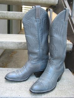 Vintage Womens Tony Lama Used Gray Leather by VintageClassicWares, $50.00