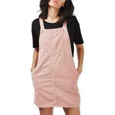 TOPSHOP Moto Corduroy Pinafore Dress (£29) ❤ liked on Polyvore featuring dresses, light pink, corduroy dress, light pink dress, topshop dresses, pink dress and pinafore dress