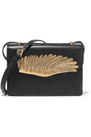 Wing embellished leather shoulder bag