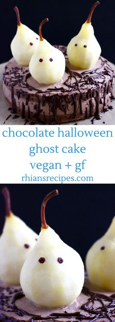 Gluten-Free Vegan Halloween Ghost Cake – moist chocolate sponge, luxurious chocolate cashew buttercream and adorable poached pear ghost decorations! Also refined sugar free.
