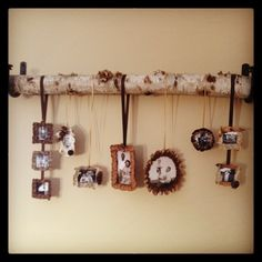 Family pictures crafted inside handmade pinecone tooled frames and birch bark. Ribbon and log. Used curtain tie-backs to hold branch. Tree Bark Crafts, Tree Branch Crafts, Birch Bark Crafts, Branch Decor, Wood Crafts, Birch Tree Decor, Birch Branches, Crafts With Pictures, Family Pictures