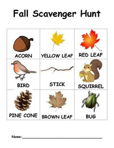 This is a checklist for children to use outside on a fall scavenger hunt at preschool or at home as a family activity. Kids can walk around outside and try to find various fall objects such as. Autumn Activities, Toddler Activities, Preschool Activities, Therapy Activities, Fall Preschool, Preschool Crafts, Crafts For Kids, Scavenger Hunt For Kids, Scavenger Hunts
