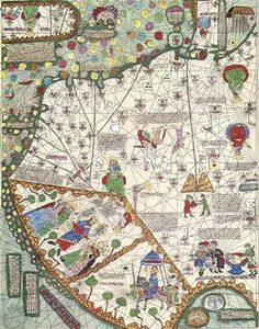 East Asia 14th Century.  Description: The Catalan Atlas produced in 1375 by the Majorcan cartographers Abraham and Jehuda Cresques is the most important Catalan world map of the Middle Ages. The world map originally consisted of various leaves.
