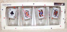 Vintage Luminarc Card Party Pub Glasses Bar Set 16oz Set of 4  #Luminarc #PubGlasses
