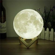 DecBest 15cm 3D Magical Two Tone Moon Lamp USB Charging Luna LED Night Light Touch Sensor Gift