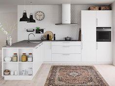 Åpne hyller til kjøkkenet Danish Kitchen, New Kitchen, Kitchen Dining, Open Cabinets, Kitchen Cabinets, Kitchen Pictures, Kitchen Equipment, Medan, Open Shelving