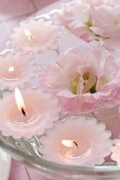 Pink Floating Candles and Flower Centrepiece
