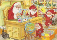 a postcard from Finland,illustration by Marja-liisa Pitkäranta Santas Workshop, Window Art, Lucky Charm, Post Office, Goblin, Gnomes, Finland, Christmas Cards, Illustration