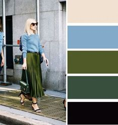 Analogous color combinations: muted blue and shining olive green skirt look incredible together. Need a greener blue Colour Combinations Fashion, Color Combinations For Clothes, Fashion Colours, Colorful Fashion, Color Combos, Olive Green Outfit, Olive Green Skirt, Olive Green Color, Green Colors