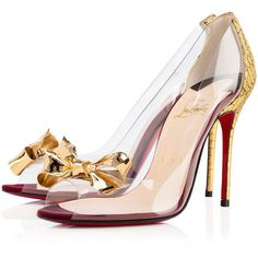 Christian Louboutin Justinodo ($1,195) ❤ liked on Polyvore featuring shoes, christian louboutin, heels, louboutin, pumps, gold, see-through shoes, high heel shoes, transparent high heel shoes and special occasion shoes
